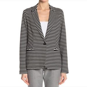 Philosophy Black and White Striped Blazer Jacket